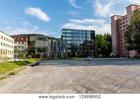 View To The Catholic University, A Famous And Historical Building In Ruzomberok, Slovakia