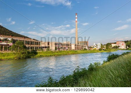 View To The Texicom Areal, A Historical Factory Building In Ruzomberok, Slovakia