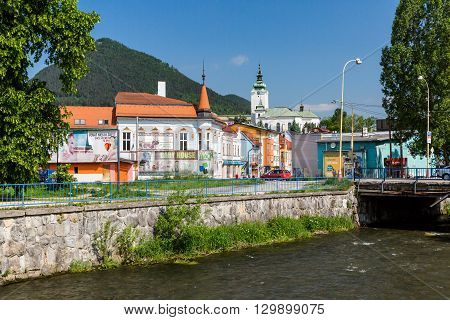 View To The Buildings Near Revuca River In The City Center Of Ruzomberok, Slovakia