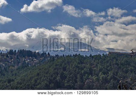 Look toward environment of springtime picturesque  dam, Plana and winter Vitosha, Pancharevo, Bulgaria