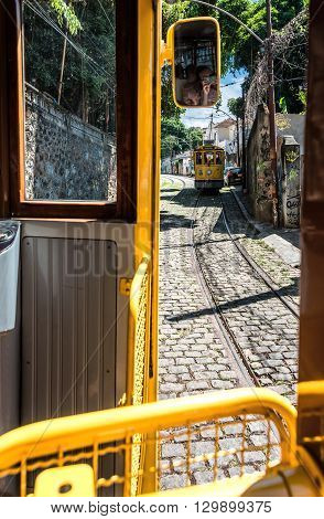 Famous Tram From Lapa To Santa Teresa District, Rio De Janeiro, Brazil