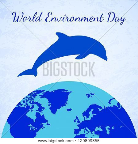 Vector Dolphin and Earth. Eco Earth Dolphin Icon. Planet Earth Icon. Element for Earth Day World Environment Day and other animal and ecology holidays projects.