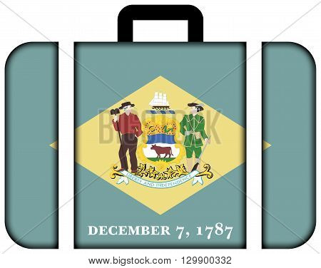 Flag Of Delaware State. Suitcase Icon, Travel And Transportation Concept