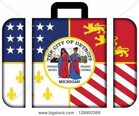 Flag Of Detroit, Michigan. Suitcase Icon, Travel And Transportation Concept