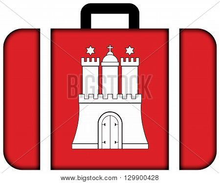 Flag Of Free And Hanseatic City Of Hamburg. Suitcase Icon, Travel And Transportation Concept