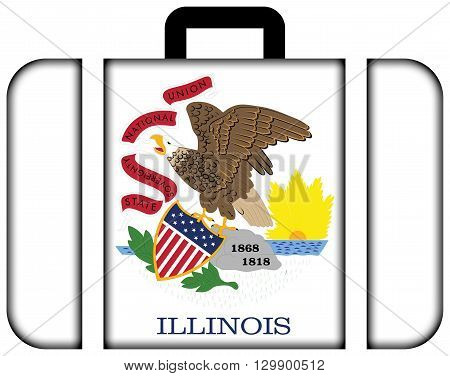 Flag Of Illinois State. Suitcase Icon, Travel And Transportation Concept