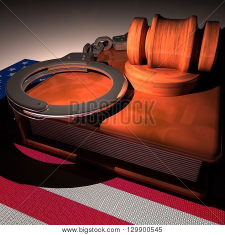 Hadcuffs, Gavel And Book Over Usa Flag