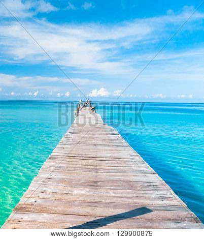 Contemplating the Sea Jetty to the blue