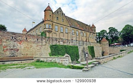 Untergruppenbach Germany - May 15 2016: Castle Burg Stettenfels panorama shot. A famous place for marriages and events near Heilbronn.
