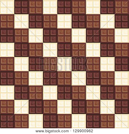 Chocolate bars seamless pattern. Different types of chocolate dark, milk and white. Creative wallpaper design. Realistic chocolate bar pieces. Tasty background. Endless texture. illustration