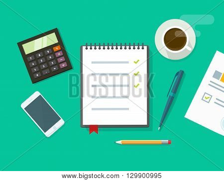 Work desk vector illustration on green color background, business office workplace table concept, flat modern desktop with devices, notebook to do list, organizer, paper work, planning