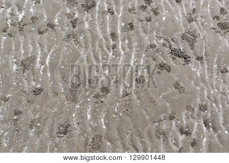 closeup of sand pattern of a beach dirty.