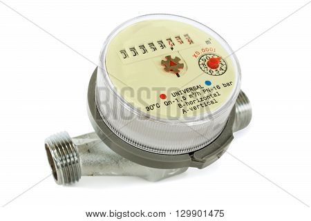 Water meter for domestic water on white background