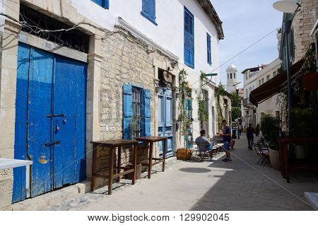LIMASSOL (LEMESOS) CYPRUS - APRIL 23 2016: Narrow streets of Turkish quarter in old town.It's the second largest city in country economic cultural and financial center