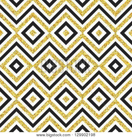 Hand drawn golden seamless pattern. illustration for gold design. Ethnic motif. Zigzag and stripe line. Yellow and white colors. For invitation, web, textile, wallpaper, wrapping paper.