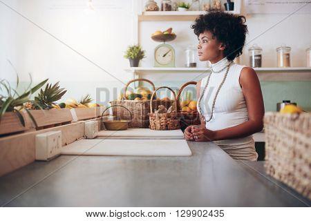Beautiful Young Woman Behind Juice Bar Counter