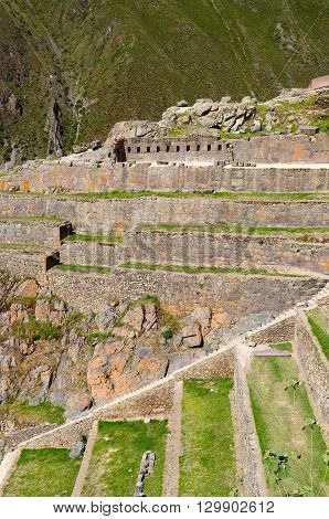 South America Peru Ollantaytambo - incan fortress strategically situated in the north part for Sacred Valley in Peru. Ollantaytambo is one of best kept Inca settlements.