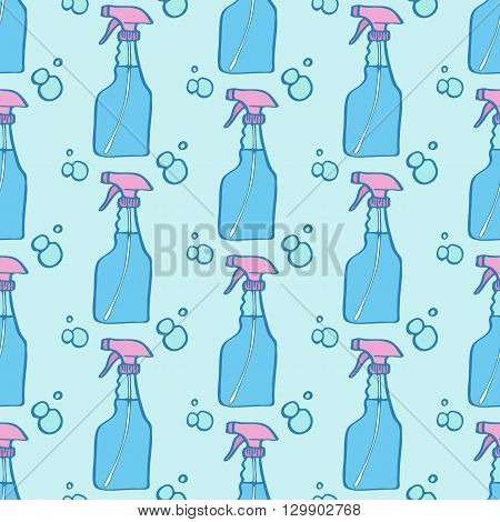Spray bottle sketch. Seamless pattern with hand-drawn cartoon icons - pulverizer and bottles. Doodle drawing. Vector illustration - swatch inside