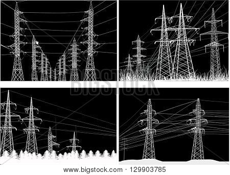 illustration with electric power pylons collection isolated on black background