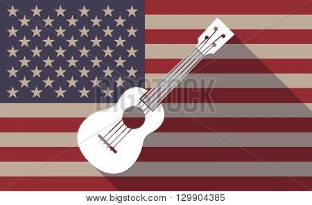 Long Shadow Usa Flag Icon With   An Ukulele