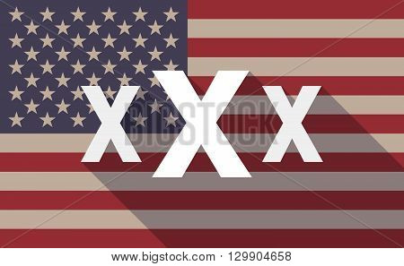 Long Shadow Usa Flag Icon With   A Xxx Letter Icon