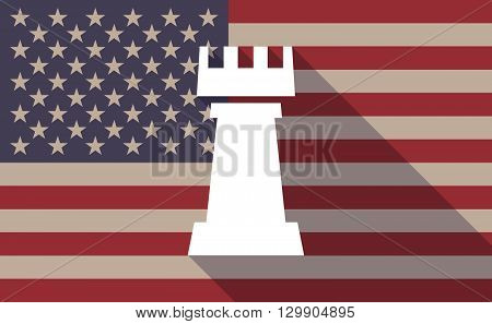 Long Shadow Usa Flag Icon With  A  Rook   Chess Figure