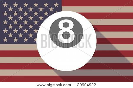 Long Shadow Usa Flag Icon With   A Pool Ball