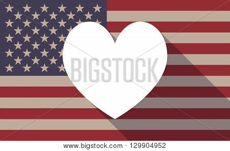 Long Shadow Usa Flag Icon With   The Heart Poker Playing Card Sign