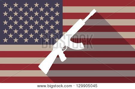 Long Shadow Usa Flag Icon With   A Machine Gun Sign