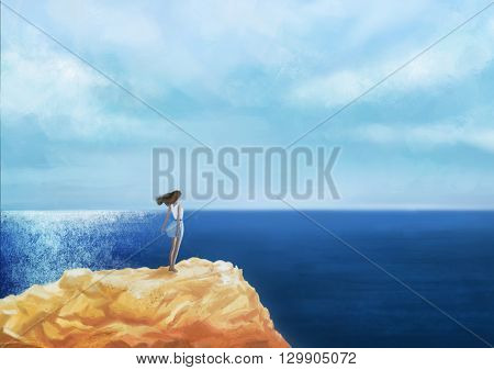 Romantic  Girl standing on the rock by the peaceful sea at sunset digital art. Woman in casual clothes standing on the rocks by the sea looking out over the ocean original illustration