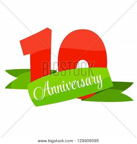 Cute Template 10 Years Anniversary Vector Illustration EPS10