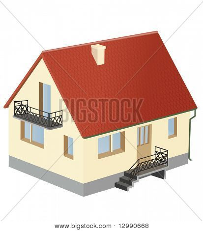 miniature house with red roof vector