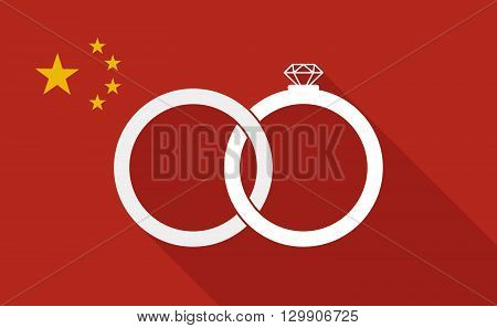 China Long Shadow Flag With   Two Bonded Wedding Rings
