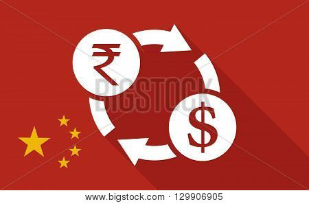 China Long Shadow Flag With   A Rupee And Dollar Exchange Sign