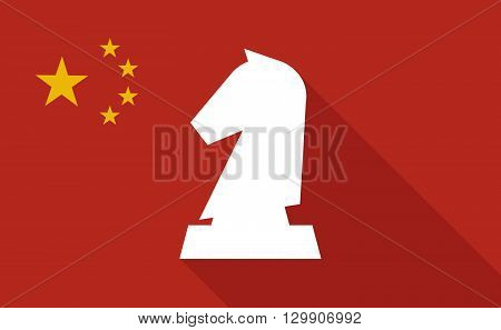 China Long Shadow Flag With  A  Knight   Chess Figure