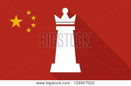 China Long Shadow Flag With  A  Queen   Chess Figure