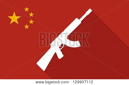 China Long Shadow Flag With   A Machine Gun Sign