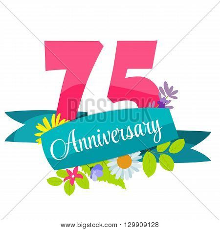 Cute Template 75 Years Anniversary Sign Vector Illustration EPS10