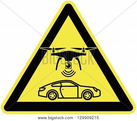 Speed Limit enforced by Drone. Traffic sign for a new traffic enforcement strategy to track highway speeders