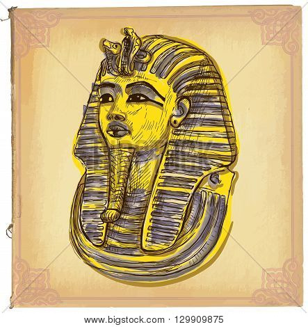 Hand drawn vector illustration colored line art. TUTANKHAMUN pharaoh mask. Freehand sketch of death mask of egyptian pharaoh. Hand drawings are editable in layers and groups. Background is isolated.