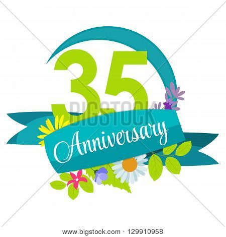 Cute Nature Flower Template 35 Years Anniversary Sign Vector Illustration EPS10