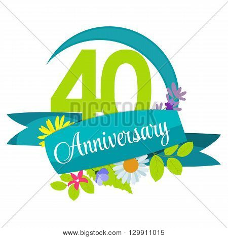 Cute Nature Flower Template 40 Years Anniversary Sign Vector Illustration EPS10