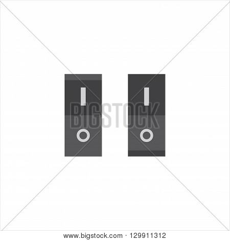 Switches .On and off switches. Icons switches in different positions isolated on white background. Vector illustration.