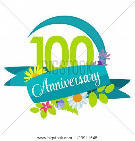 Cute Nature Flower Template 100 Years Anniversary Sign Vector Illustration EPS10