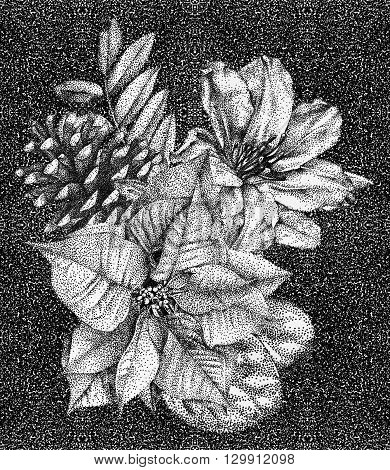 Composition of different flowers and plants drawn by hand with black ink. Graphic drawing pointillism technique