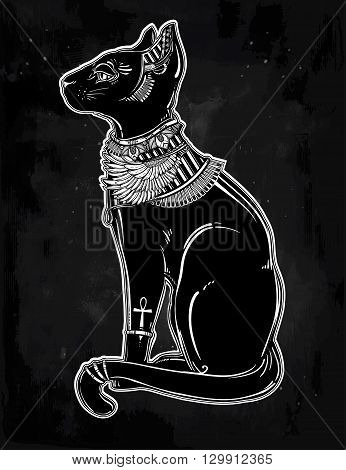 Vintage hand drawn egyptian cat - symbol of goddess Bastet. Vector illustration isolated. Magic religious objects linear in style. Tattoo and print outline template.