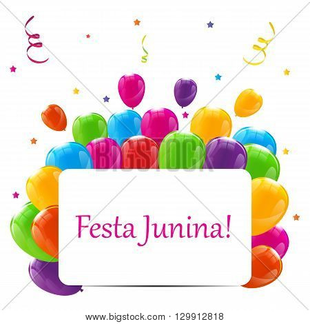 Festa Junina Holiday Background. Traditional Brazil June Festival Party. Midsummer Holiday. Vector illustration with Ribbon and Flags. EPS10