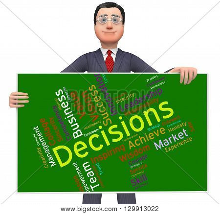 Decision Words Indicates Decided Wordcloud And Text