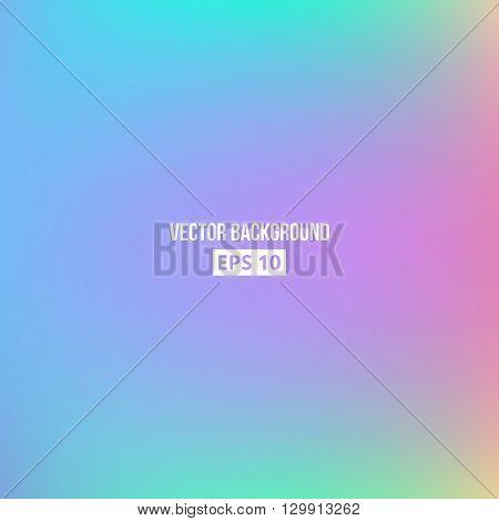 Purple, cyan, blue, pink blur gradient. Vector, eps10. Holographic background.