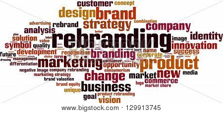 Rebranding word cloud concept. Vector illustration on white